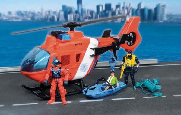 U.S. Coast Guard Helicopter Playset with 3 Figures