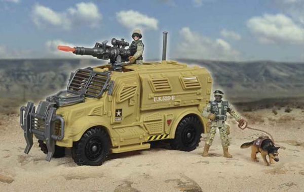 U.S. Army Vehicle Playset with Dart Launcher with 2 Figures & K-9